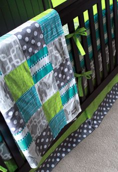 Custom Crib bedding - Turquoise, Grey and Lime green. $403.00, via Etsy.