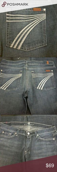 7 FAM DOJO Jeans size 31 Very nice condition Seven For All Mankind Dojo jeans 31 waist 38 length 28 inseam across the bottom 10 1/2 7 For All Mankind Jeans