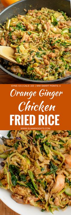 fragrant delicious twist in this delicious Orange Ginger Chicken Fried Rice - a complete meal in a bowl. Gluten Free, Dairy Free, Slimming World and Weight Watchers friendly. Diet Recipes, Chicken Recipes, Cooking Recipes, Healthy Recipes, Healthy Meals, Healthy Food, Recipies, Healthy Style, Tasty Meals