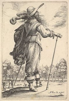This very fashionable Cavalier is wearing the longer (just past the knee) Slop breeches and hair that also find favor during this period. We can clearly see the shape of the cavalier style hat complete with multiple ostrich plumes. 17th Century Clothing, 17th Century Fashion, Historical Costume, Historical Clothing, Renaissance, Thirty Years' War, Landsknecht, Merian, European Paintings