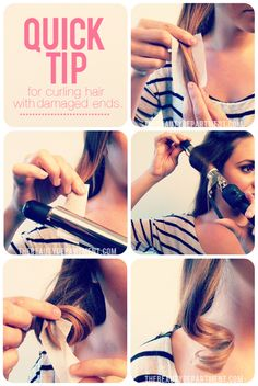 To protect dry, damaged ends while curling your hair, try wrapping them with perm papers to create a barrier between the hot curling iron and your ends!