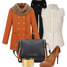 "Love the coat & purse.  ""Orange, Black and Gold"" by orysa on Polyvore"