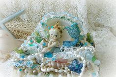 Vintage Mermaid Figurine Seashell Treasure Box Ocean by treasured2
