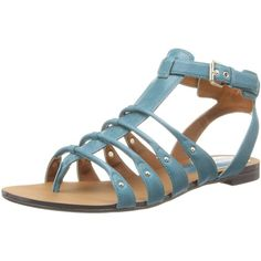 Enzo Angiolini Women's Manilly Gladiator Sandal ($23) ❤ liked on Polyvore featuring shoes, sandals, t-strap flats, summer sandals, ankle wrap sandals, summer flats and studded gladiator sandals
