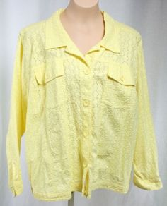 Denim-Co-Womens-Plus-Size-Yellow-Eyelet-Button-Front-Jacket-Size-2X