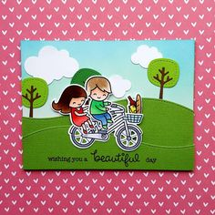 "A birthday card using the ""Bicycle Built For You"" stamp set from ""Lawn Fawn""."