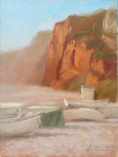 """""""The Cliffs at Budleigh"""" 8 x 6 ins Oils http://www.markloman.co.uk/blog"""