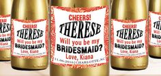 Bride Mini Champagne Labels Be My Bridesmaid by LabelByLoveArts