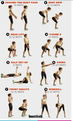 Quick kettle bell workout. I use 20lbs and do entire workout 2x with 1 min rest in between.
