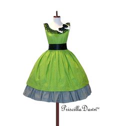 Custom in Your Size Sweet Green Polkadotted by priscilladawn. $318.00, via Etsy.