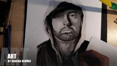 Drawing Eminem Slim Shady, Marshall Mathers realistic Pencil and Charcoal Portrait by Sascha Schürz Eminem Rap, Eminem Slim Shady, Drawing Tutorials For Beginners, Charcoal Portraits, Pencil, Actors, Black And White, Guys, Celebrities