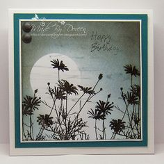 Hello to you all,my card share today uses an Inkylicious stamp Daisy Fields, I have coloured the sky with Faded Jeans,Weathered Wood and Bl. Inkylicious Cards, Cardio Cards, Daisy Field, Birthday Cards For Women, Pretty Cards, Card Maker, Watercolor Cards, Masculine Cards, Sympathy Cards