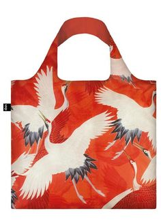 #Bag# Tasche# Sac # Bolsa# Flying fugue. Fiery flight. Divine signs. A mystical moment. Play the game of one thousand cranes with this red-hot Japanese print.