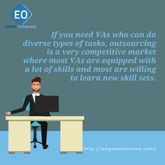 If you need VAs who can do diverse types of tasks, outsourcing is a very competitive market where most VAs are equipped with a lot of skills and most are willing to learn new skill sets. Copywriting, Attraction, Digital Marketing, Wordpress, Positivity, Social Media, Learning, Business, Tips