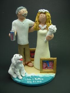 "Custom Made to Order Beach destination Bride and Groom Wedding Cake Toppers, are the ""Real"" Icing on the Cake...and a Treasured Matrimonial Keepsake. www.magicmud.com  1800 231 9814 #magicmud"