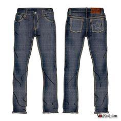 Men's Denim Jeans Vector Template with Denim Texture Imposed!