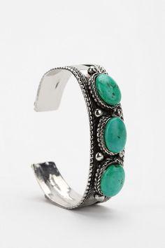 Triple Stone Tribal Cuff Bracelet