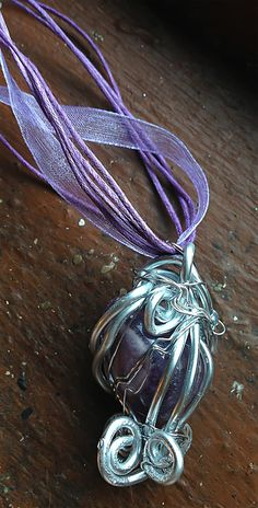 #Amethyst in #Caged #Silver #Goddess #Spirals by Eldwenne, $28.00 #handmade #jewelry #wiccan #pagan