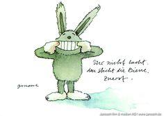 Wer nicht lacht, den sticht die Biene zuerst. #Postkarte, #Janosch