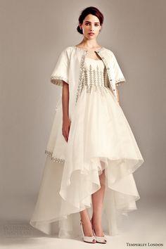 temperley london bridal fall 2014 2015 iris aralia short to long wedding dress evening coat