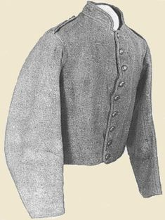 Jacket Type II  the Richmond depot received in one week 4500 yards of English gray and 3,000 yards of English blue cloth.    type II replaced type 1. The change required only omissions of embellishments. We know that type II was worn into 1864 as it was common to these Confederate prisoners captured at battle of Cold Harbor, Virginia.