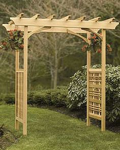 $600 Cedar Pergola: Heritage Cedar Arbor | Gardener's Supply *I like this arbor for front side gates - esp. the top rail.  Don't like the sides that much - make them more like rectangles that you could actually grow things on.  Also I think the main posts should be beefier to be in scale.