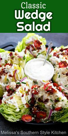Wedge Salad Recipes, Best Salad Recipes, Healthy Recipes, Healthy Food, Melissas Southern Style Kitchen, Best Guacamole Recipe, Guacamole Salad, Cooking Recipes