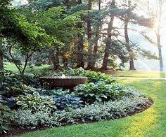 Hosta filled shade garden  PLANT LIST  A.  50 Greater periwinkle (Vinca major)…