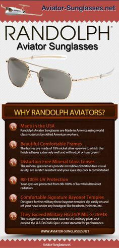 a4cf7421b7 Randolph Aviator Sunglasses are the same as those issued to U.S. Military  pilots. Made in