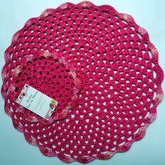 Ref: 008-Jogo americano em crochê-Rosa pink