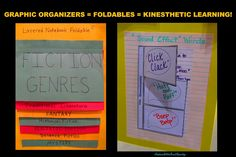 Foldable and Graphic Organizers for the Kinesthetic/Hand-on Learner! Examples and inspiration from Dinah Zike Library Lessons, Reading Lessons, Teaching Reading, Teaching Ideas, Library Ideas, Math Lessons, Reading Notebooks, Reading Binder, School Fun