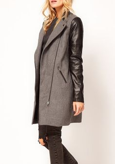 Love Love Love this look! Grey Patchwork Epaulet Band Collar Wool Coat #grey #black #fashion