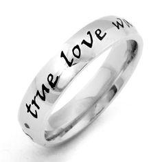 True Love Waits, Waiting For Love, Stainless Steel Rings, Laser Engraving, Simple Designs, Jewelry Rings, Wedding Rings, Cosmetics, Engagement Rings
