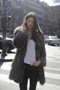 fake fur coat & tee