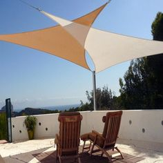 Beige Triangle 16u0027 Sun Shade Sail Awning Cover For Outdoor Patio Garden Yard