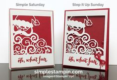 Detailed Santa Thinlits, Oh What Fun, Real Red Baker's Twine, Clear embossing powder, Window Sheets, Sequins, Foam Adhesive Strips