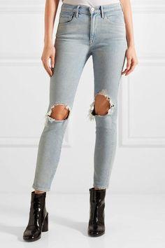 3x1 - W3 Distressed High-rise Slim-leg Jeans - Light denim - 28