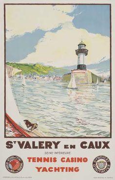 chemins de fer de l'état - St Valery en caux - Normandie (Seine-inférieure) - 1936 - illustration de C. Marchand - France
