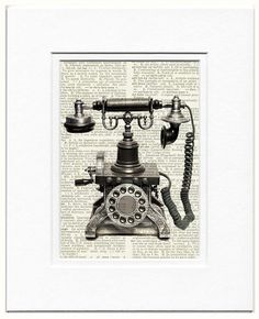 telephone  vintage telephone printed on page from old by FauxKiss, $10.00