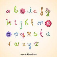 Girly vector alphabet  Free Vector