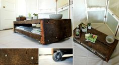 Reclaimed barn wood coffee table with wheels