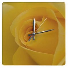 #Yellow Rose #Flower Square Wall #Clock £28.10
