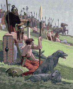 """Celtic warriors at rest, after a long march, before battle""- Imagen Celtic Warriors, Celtic Culture, Celtic Art, Iron Age, Dark Ages, Medieval Fantasy, Roman Empire, Military History, Ancient History"