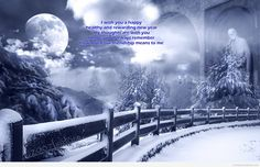 Happy new year night wallpaper with snow and sayings