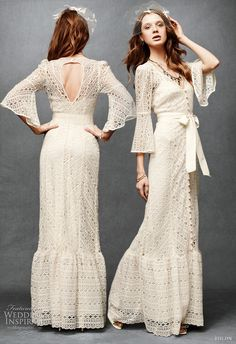 This bridal gown is very unusual. It would work well for a boho or hippie wedding.