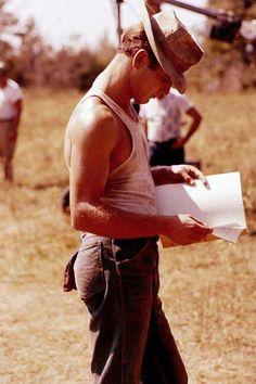 Paul Newman photographed by Gene Lesser on the set of Cool Hand Luke, 1967.