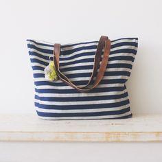 Navy Stripe Tote. Handmade in Guatemala. celadonathome.com