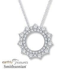 Round diamonds framed by a circle create an exquisite necklace from the Earthly Treasures Smithsonian collection. Diamond Gemstone, Diamond Pendant, Gemstone Jewelry, Jewelry Stores, Jewelry Design, White Gold, Gemstones, Circle Necklace, Round Diamonds