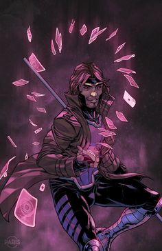I drew this Gambit for I had a lot of fun working on this one. I got to try some new techniques, textures and brushes. Gambit Marvel, Gambit X Men, Rogue Gambit, Marvel X, Comic Book Characters, Marvel Characters, Comic Books Art, Comic Art, Fantasy Characters
