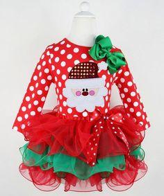 244287452604 Cute Polka Dot Multilayered Santa Claus Spliced Christmas Mini Dress For  Girl Baby Christmas Costumes,